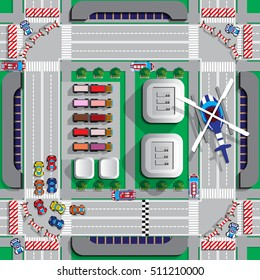 Race track on city streets.  View from above. Vector illustration.