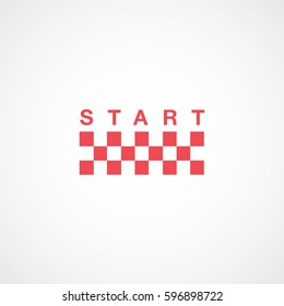 Race Track Raceway Start Red Flat Icon On White Background