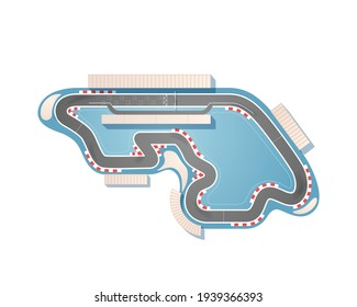 The race track from a top view is isolated on a white background. The racing circuit is including a pit lane, grandstands, boxes, and sandy safety zones. Vector illustration.