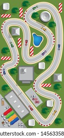 Race track. View from above. Vector illustration.