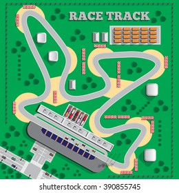 Race track. View from above. Vector illustration. Applique with realistic shadows.