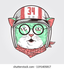 racer cat vector editable layer