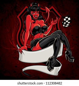 Racer Girl Pin-Up: Devil Version. Vector racing illustration of a sexy pin-up girl sitting atop a banner holding a checkered flag in front of a highway sign with flames and a textured background.