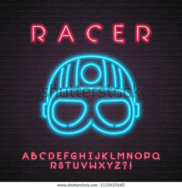 Racer Helmet Neon Light Glowing Vector Stock Vector (Royalty