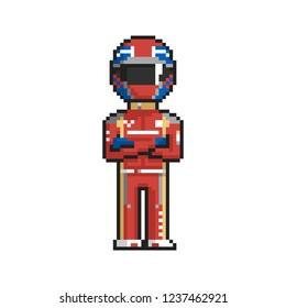 Racer pixel art on white background. Vector illustration.