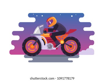Racer riding motorbike logo isolated on background of night sky. Side view of man in helmet, motorbilker on scooter vector illustration male on bike