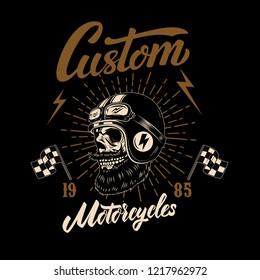 Racer skull in winged helmet. Design element for logo, label, sign, poster, t shirt. Vector image