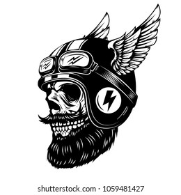 racer skull in winged helmet isolated on white background. Design element for emblem, poster, t-shirt. Vector illustration