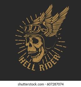racer skull in winged helmet isolated on dark background. Design element for emblem, poster, t-shirt. Vector illustration