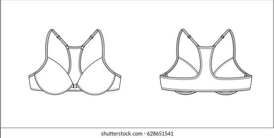 Racerback bra - technical fashion sketch