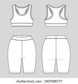 Racerback bralette and legging shorts. Women's sportswear. Activewear set. Vector technical sketch. Mockup template.