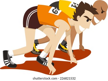 Racers about to compete in a race cartoon vector illustration
