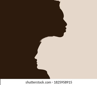 Racial equality anti-racism concept poster. Profile head silhouette of African American man intersecting into another Caucasian man. Diversity multiethnic people. Diverse culture society