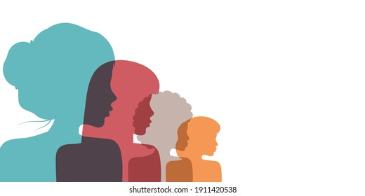 Racial equality and anti-racism. Silhouette profile group of women and girls of diverse culture. Social image. Vector banner.