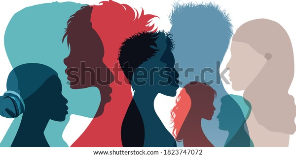 Racial equality and anti-racism. Silhouette profile group of men women and girl of diverse culture. Diversity multi-ethnic and multiracial people. Multicultural society. Friendship