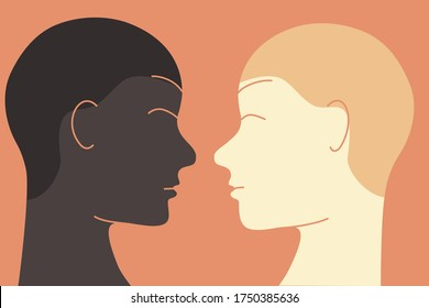 Racial equality concept illustration. One African American ethnicity person looking and smiling to a White Caucasian ethnicity person. Flat design.