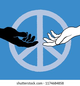 Racial harmony and peace with two hands reaching forward and the peace symbol on a blue background