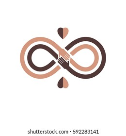Racial Tolerance between different Nations conceptual symbol, Martin Luther King Day, Zero tolerance, vector symbol created with infinity loop sign