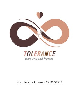 Racial Tolerance conceptual symbol, Martin Luther King Day, Zero tolerance, vector symbol created with infinity loop sign and two hands of people of different races touching and reaching each other.