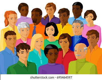 racially diverse group of adult people smiling, realistic vector illustration