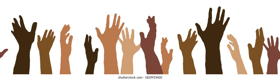 A racially diverse group of hands raised up.
