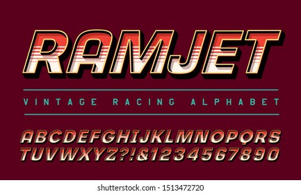 Racing alphabet; font for motorsports or airshow logos or vehicles. Ramjet refers to a type of high powered jet engine.
