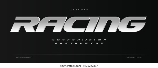 Racing alphabet. Speed sport font, automotive type for modern dynamic logo, headline, auto car branding and merchandise, typography and packaging. Wide bold italic letters, vector typographic design - Shutterstock ID 1976722337