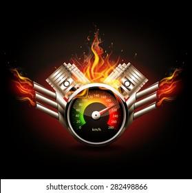Racing background, speedometer and pistons.