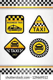 Racing Background vertical and Taxi - set retro stickers, vector illustration 10eps