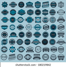 Racing badges - big blue set, vintage style, vector illustration