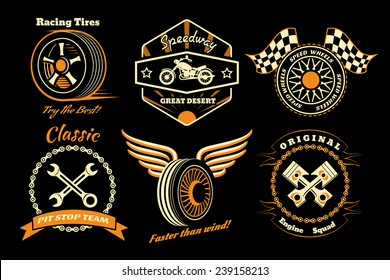 Racing badges. Themed logos, and service of the race cars and motorcycles. Vector illustration