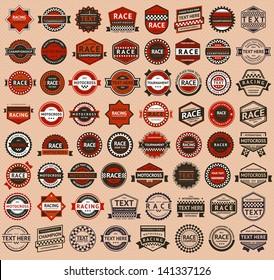 Racing badges - vintage style, big set, vector illustration