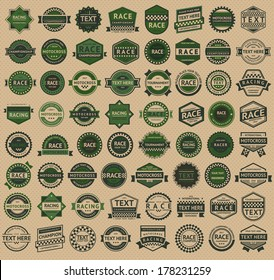 Racing badges - vintage style, big green set, vector illustration