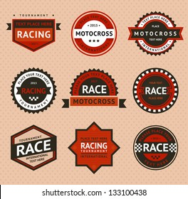 Racing badges, vintage style. Vector illustration