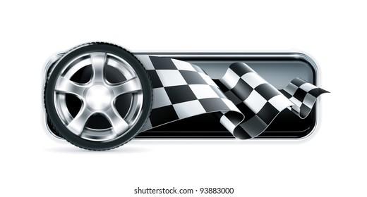 Racing banner with car wheel, vector