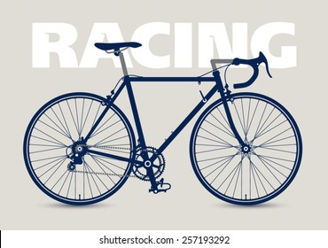 Racing Bicycle high detailed silhouette, isolated and monochrome.