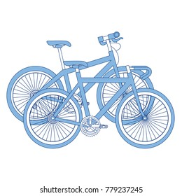 racing bicycles isolated icons