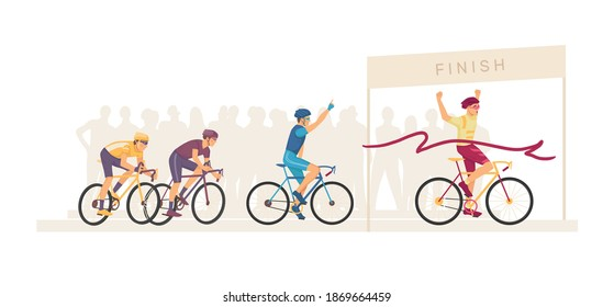 Racing bicyclists people on bikes. Marathon finish. Group sportsmen cyclists on home stretch. Ribbon breaker winner. Cyclists racing bike winner cross finish line. Winning champion concept vector