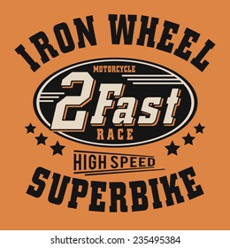 Racing biker typography, t-shirt graphics, vectors
