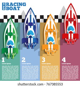 The racing boats at the finish line. View from above. The template for the presentation. Vector illustration.