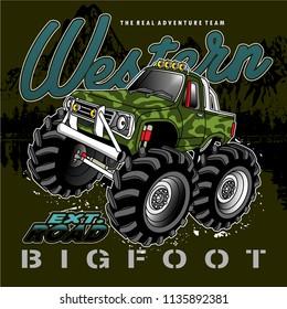 racing car big tires,vector car illustration