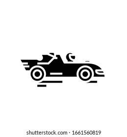 Racing car black icon, concept illustration, vector flat symbol, glyph sign.