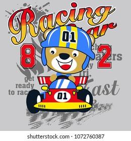 Racing car cartoon vector baby t shirt design
