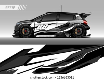 Racing car decal design vector. Graphic abstract stripe racing background kit designs for wrap vehicle, race car, adventure and livery