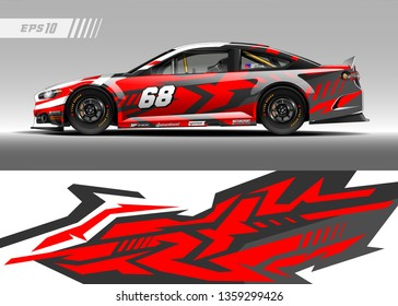 Racing car decal design vector. Graphic abstract stripe racing background kit designs for wrap vehicle, race car, rally, adventure and livery