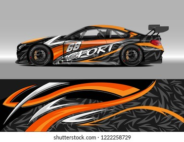 Racing Car Decal Graphic Vector, wrap vinyl sticker. Graphic abstract stripe designs for Racing vehicles.