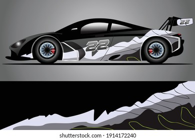 Racing Car decal wrap design. Graphic abstract livery designs for Racing, tuning, Rally car. eps 10 format
