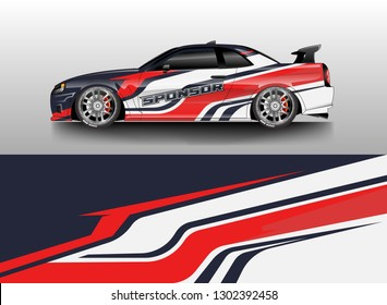Racing car decal wrap vector designs. Truck and cargo van decal, company , rally, drift . Graphic abstract stripe racing background .