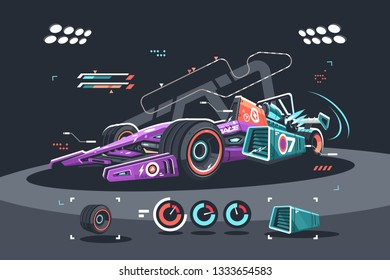 Racing car of F1 vector illustration. Detailed colorful supercar flat style concept. High speed sports vehicles competition. Formula bolide diagnostic in workshop before race
