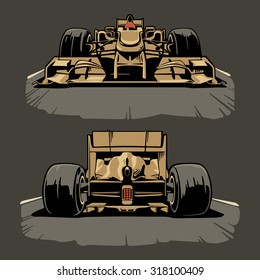 Racing Car Front And Back View Vector Set Illustration